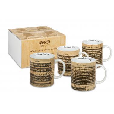 Порцеланов комплект от 4 чаши 300мл с подаръчна кутия с декор