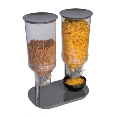 Меламинов диспенсър за зърнени закуски 2х4,5л, черен, 24x37,5см, h: 49,5см DUO - APS