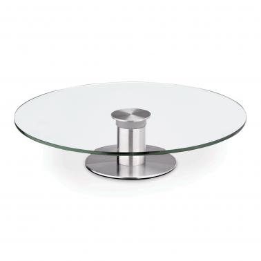 Иноксов поднос за торта на столче с въртящо се стъклено плато ф30см h7см - WAS