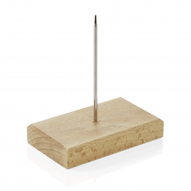 Иноксов шиш за бележки на дървена основа 9x5.5см - WAS