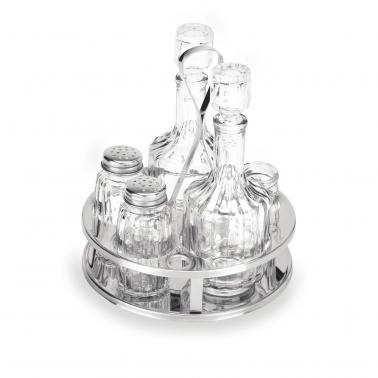 Оливерник стъкло/инокс от 5 части (бутилки за зехтин/олио и оцет; бурканчета за клечки за зъби, сол и черен пипер) - WAS