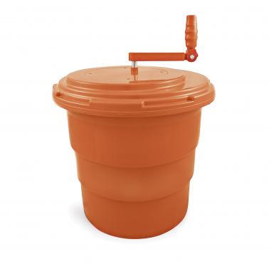 Полипропиленова центрофуга за зеленчуци/салата с контейнер ипластмасова дренажна решетка от 2 части 25л ф43см h44,5см -  WAS