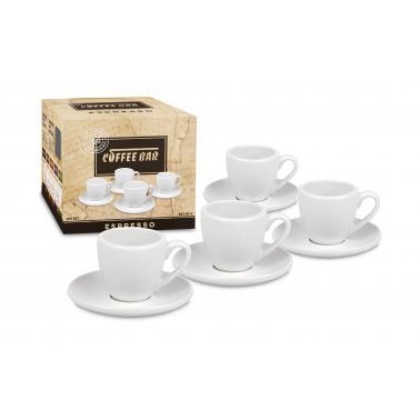 Порцеланов комплект от 4 чаши за еспресо 75мл , бели - Konitz
