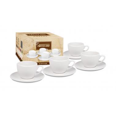 Порцеланов комплект от 4 чаши за кафе 200мл, бял - Konitz