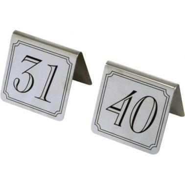 Иноксови табелки за маса - комплект от 31 до 40