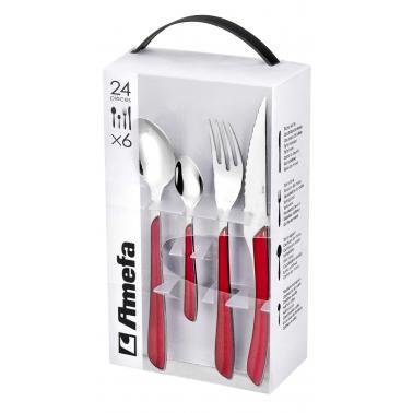 Комплект прибори за хранене от 24 елемента ECLAT RED - Amefa