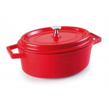Алуминиева касерола   овал червена    Fundicion:Cocottes 26х20см  3.5л - Lacor