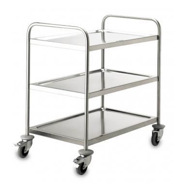 Иноксова количка за сервиране, 3 нива, МАХ 150кг, 89.5х64.5х94.5см със спирачки - Lacor