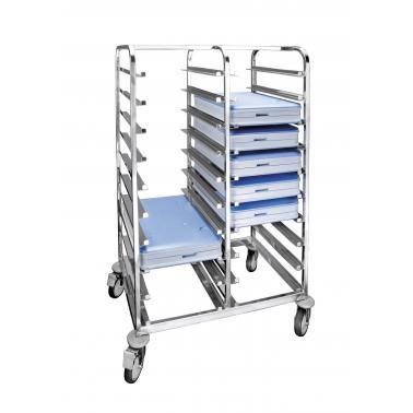 Иноксова количка за изотермични подноси от поликарбонат, 90х62х148см , подходяща за 20 броя - Lacor