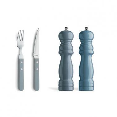 Комплект за стек 14 елемента (6 вилици за стек и 6 ножа за стек) + 2 мелнички (21.5см) , сини - Amefa
