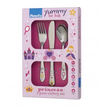 Комплект от 3 бр. детски иноксови прибори за хранене Amefa - Princess