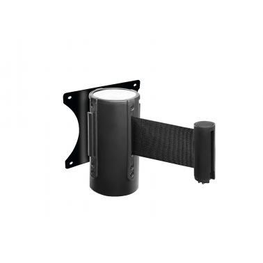Метална ограничителна стойка за монтаж на стена ф6,3x13см с 2м разтегателен прибиращ се колан черна - Lacor