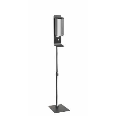 Метална стойка h160см със сив полиетиленов диспенсър за дезинфектант/течен сапун 11x12x26см 850мл - Lacor