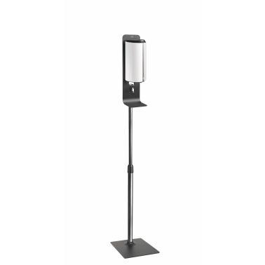Метална стойка h160см с бял полиетиленов диспенсър за дезинфектант/течен сапун 11x12x26см  850мл - Lacor