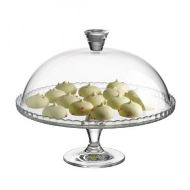Стъклено плато за торта на столче с капак PATISSERIE - Pasabahce