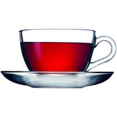 Стъклена чаша с чинийка за топли напитки 238мл BASIC - Pasabahce