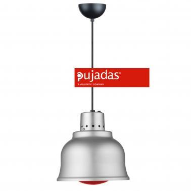 Отопляема лампа инокс, ф23см, 230V, кабел 140см, копче за вкл/изкл, червена крушка 250W - Pujadas