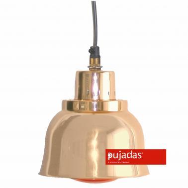 Отопляема лампа мед, ф23см, 230V, кабел 140см, копче за вкл/изкл, червена крушка 250W - Pujadas