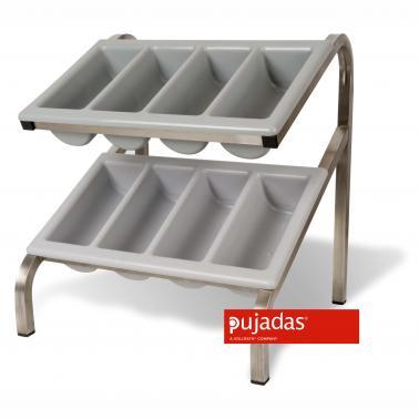 Иноксова стойка за разделител за прибори - двойна 52,6х51х58см, GN 1/2 - Pujadas