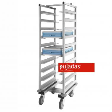 Иноксова количка за транспортиране на тави 62x50x152см - Pujadas