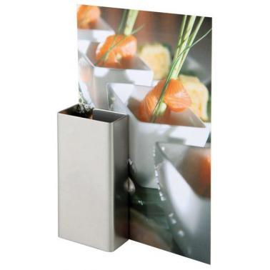 Иноксова стойка за меню 8,5х4см, 2бр - APS