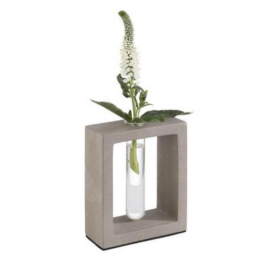 Стъклена ваза на бетонна стойка 10х4,5см  h12,5см , 25мл ELEMENT - APS