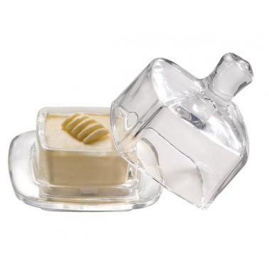 Стъклена чинийка за масло с капак  9х9см - APS