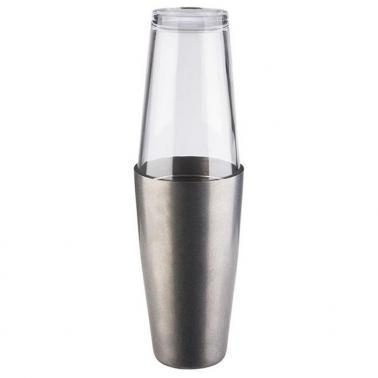 Иноксов шейкър със стъклена чаша stainless-antique бостън 700/400мл - APS