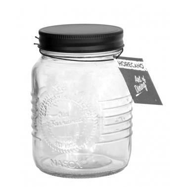 Стъклен буркан с метална винтова черна  капачка 500мл ВИСОК OLD FASHIONED-(212958-BL-SS4) - Horecano