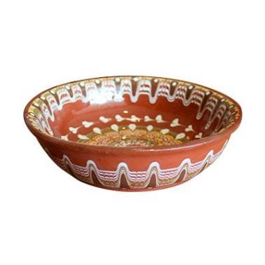 Керамична чиния  с троянска шарка  дълбока 20см  - Horecano