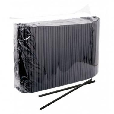 Пластмасови сламки широки черни 500 бр.
