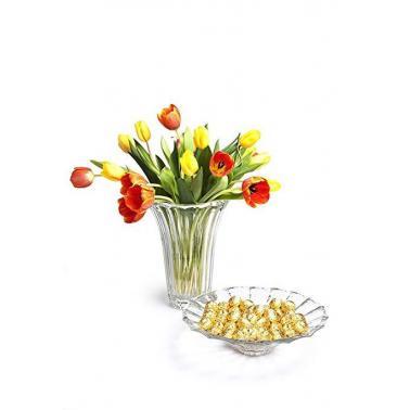 Стъклен комплект  от  купа ф34см и  ваза ф30см DOGE 65976 - VIDIVI