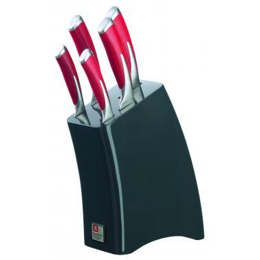 Комплект кухненски ножове - 5 бр. с дървена гланцирана стойка KYU FIRE - Richardson Sheffield