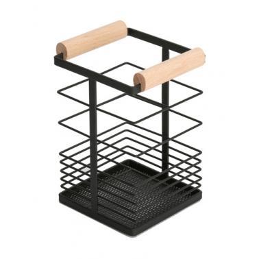 Метална поставка за прибори с дървени дръжки 10x10xh15,5см G-MATT BLACK-(23256-003) - Horecano