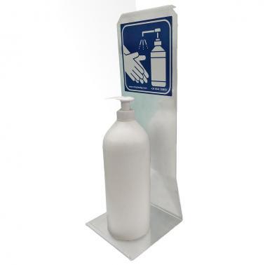 Поставка за маса на устройство за дезинфектант или бутилка от стомана, сива RAL9006-Rotoplast