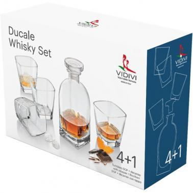 Стъклен комплект от гарафа 700мл + 4  чаши за  уиски / алкохол  330мл DUCALE 68097 - VIDIVI